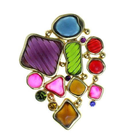Gold-Tone & Multi Colored Metal Brooch-Pin With Stone Accents #2330
