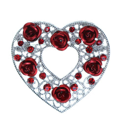 Heart Roses Brooch-Pin With Crystal Accents Bronze-Tone & Red Colored #2337