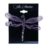 Dragonfly Brooch-Pin With Bead Accents Purple & Clear Colored #2342