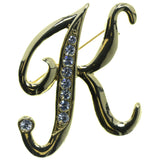 K Initial Brooch-Pin With Crystal Accents Gold-Tone & Clear Colored #2344