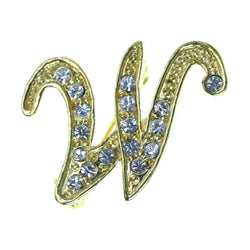 W Initial Brooch-Pin With Crystal Accents Gold-Tone & Clear Colored #2345