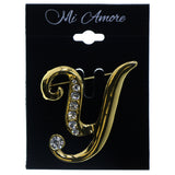 Y Initial Brooch-Pin With Crystal Accents Gold-Tone & Clear Colored #2346
