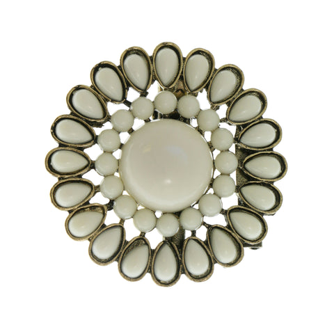 White & Gold-Tone Colored Metal Brooch-Pin With Stone Accents #2351