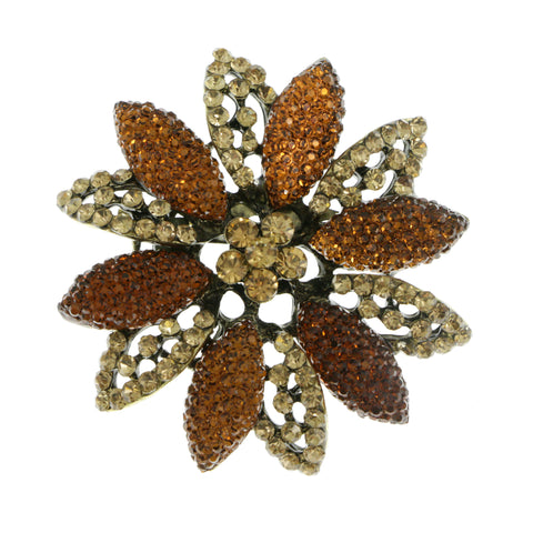 Flower Brooch-Pin With Crystal Accents Gold-Tone & Orange Colored #2352