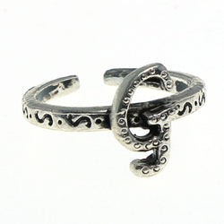 Adjustable Initial G Toe-Ring Silver-Tone Color  #4443