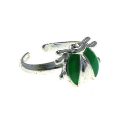 Adjustable Bug Toe-Ring Silver-Tone & Green Colored #4445