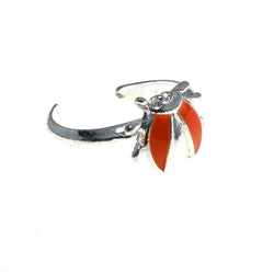 Adjustable Bug Toe-Ring Silver-Tone & Orange Colored #4445