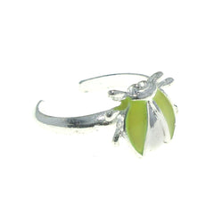 Adjustable Bug Toe-Ring Silver-Tone & Yellow Colored #4445