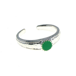 Adjustable Circle Toe-Ring Silver-Tone & Green Colored #4445