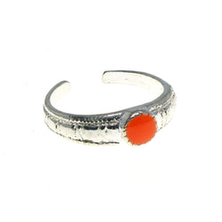 Adjustable Circle Toe-Ring Silver-Tone & Orange Colored #4445