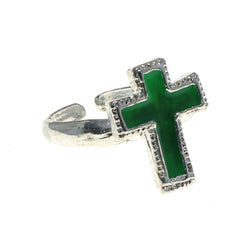 Adjustable Cross Toe-Ring Silver-Tone & Green Colored #4445