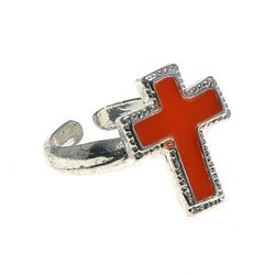 Adjustable Cross Toe-Ring Silver-Tone & Orange Colored #4445