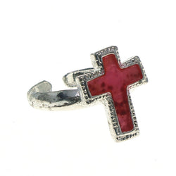 Adjustable Cross Toe-Ring Silver-Tone & Pink Colored #4445