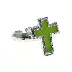 Adjustable Cross Toe-Ring Silver-Tone & Yellow Colored #4445
