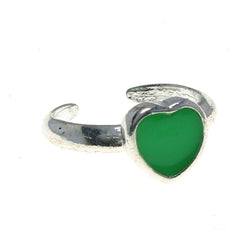 Adjustable Heart Toe-Ring Silver-Tone & Green Colored #4445
