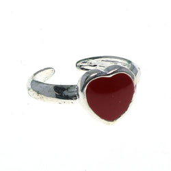 Adjustable Heart Toe-Ring Silver-Tone & Red Colored #4445