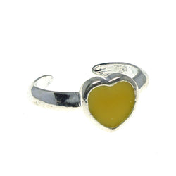 Adjustable Heart Toe-Ring Silver-Tone & Yellow Colored #4445