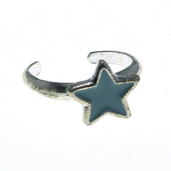 Adjustable Star Toe-Ring Silver-Tone & Blue Colored #4445