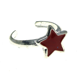 Adjustable Star Toe-Ring Silver-Tone & Red Colored #4445