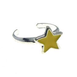 Adjustable Star Toe-Ring Silver-Tone & Yellow Colored #4445