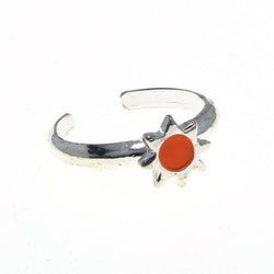 Adjustable Sun Toe-Ring Silver-Tone & Orange Colored #4445