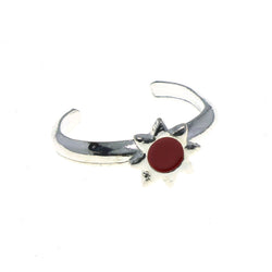 Adjustable Sun Toe-Ring Silver-Tone & Red Colored #4445