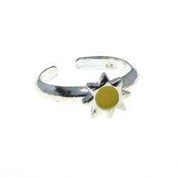 Adjustable Sun Toe-Ring Silver-Tone & Yellow Colored #4445