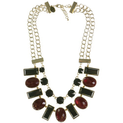 Adjustable Length Statement-Necklace With Faceted Accents Colorful & Gold-Tone Colored #3798
