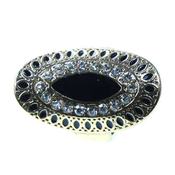 Mi Amore Oval Sized-Ring Gold-Tone/Black Size 9.00