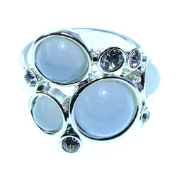 Mi Amore Sized-Ring Silver-Tone/White Size 8.00