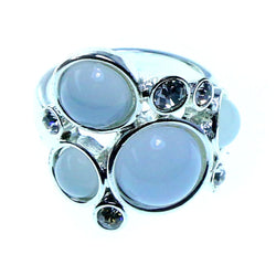 Mi Amore Sized-Ring Silver-Tone/White Size 7.00