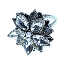 Mi Amore Flower Sized-Ring Silver-Tone/Clear Size 9.00