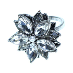 Mi Amore Flower Sized-Ring Silver-Tone/Clear Size 8.00