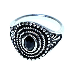 Mi Amore Sized-Ring Silver-Tone/Black Size 8.00