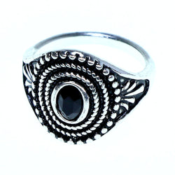 Mi Amore Sized-Ring Silver-Tone/Black Size 7.00