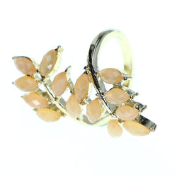 Mi Amore Sized-Ring Gold-Tone/Peach Size 8.00
