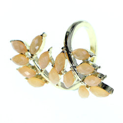 Mi Amore Sized-Ring Gold-Tone/Peach Size 7.00