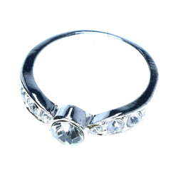 Mi Amore Sized-Ring Silver-Tone/Clear Size 8.00