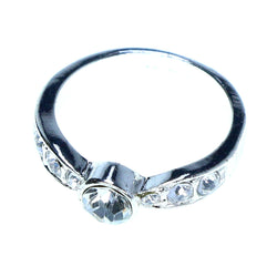 Mi Amore Sized-Ring Silver-Tone/Clear Size 10.00