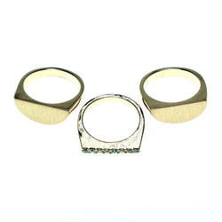 Mi Amore 3 PC  Sized-Ring Gold-Tone/Clear Size 8.00