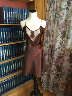 Metallic Brown Chemise with Floral Accents