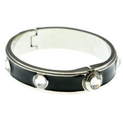 Mi Amore Clasp Bangle-Bracelet Black/Silver-Tone