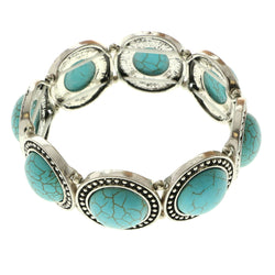 Erica Lyons Turquoise Stretch Bracelet Silver-Tone