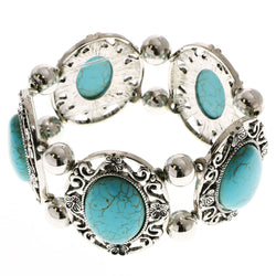 Erica Lyons Turquoise Stretch-Bracelet Silver-Tone