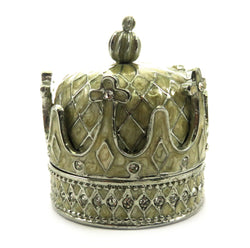 Silver tone and tan enamel crown shaped jewelry holder JHS12