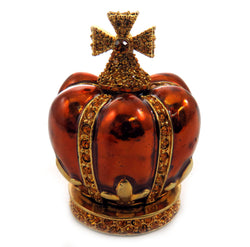 Gold tone and bronze colored enamel crown shaped jewelry holder JHS7