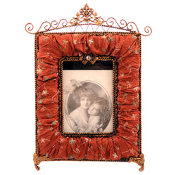 Antique style picture frame with antique gold tone metal and fabric with floral designs embroidered PF8 - Mi Amore
