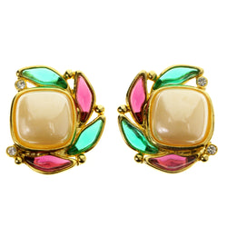 Colorful & Gold-Tone Colored Metal Clip-On-Earrings With Faceted Accents #LQC304