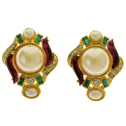Colorful & Gold-Tone Colored Metal Clip-On-Earrings With Faceted Accents #LQC334