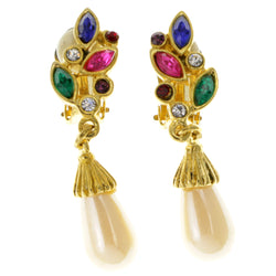 Colorful & Gold-Tone Colored Metal Clip-On-Earrings With Crystal Accents #LQC37